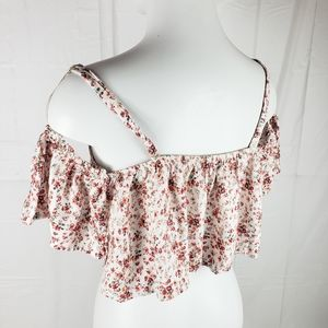 Flowy crop top tank floral cold shoulder shirt